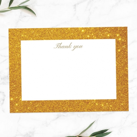50th Anniversary Thank You Cards - Simple Glitter Effect