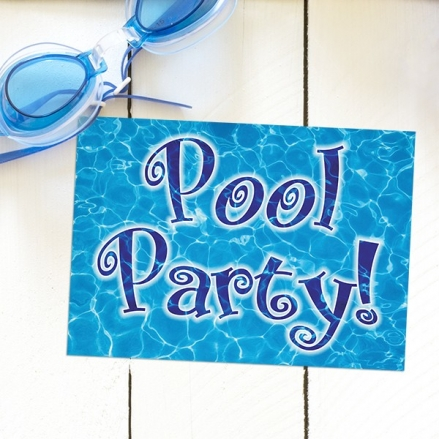 Kids Birthday Invitations - Swimming Pool Party - Pack of 10
