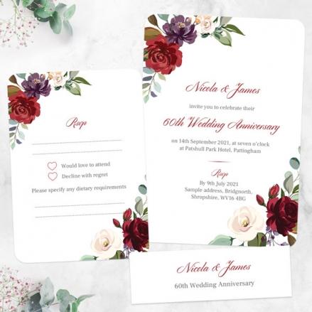 60th-Wedding-Anniversary-Invitations-Jewel-Flowers