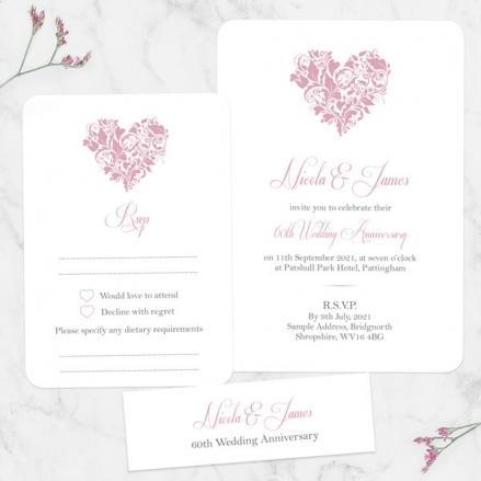 60th Wedding Anniversary Invitations - Ornate Heart