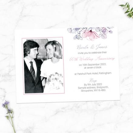 60th-Wedding-Anniversary-Invitations-Lilac-&-Pink-Flowers