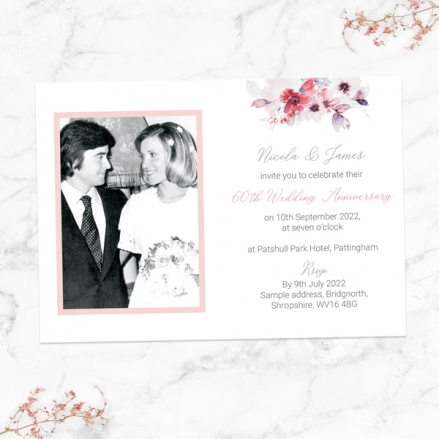 60th-Wedding-Anniversary-Invitations-Pink-Watercolour-Bouquet
