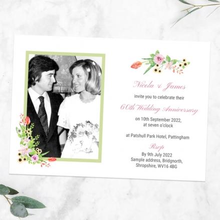 60th-Wedding-Anniversary-Invitations-Summer-Flowers