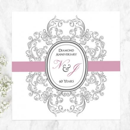 60th Wedding Anniversary Invitations - Baroque Border