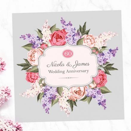 60th Wedding Anniversary Invitations - Hyacinth & Peony Frame
