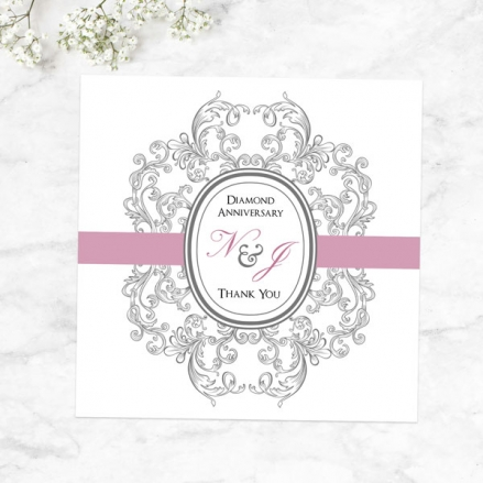 60th Anniversary Thank You Cards - Baroque Border