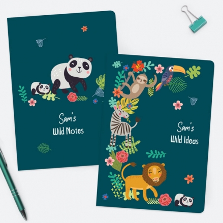 Cute-Safari-Animals-Personalised-A5-Exercise-Books-Pack-of-2