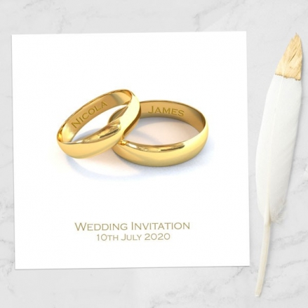 Add Your Names Gold Rings - Wedding Invitations