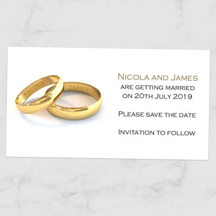 Add Your Names Gold Rings - Save the Date Magnets