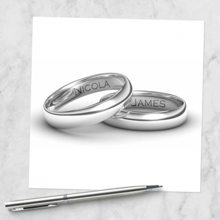 Add Your Names Silver Rings - Wedding Invitations