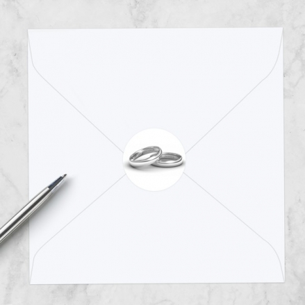 Add Your Names Silver Rings - Wedding Envelope Seals