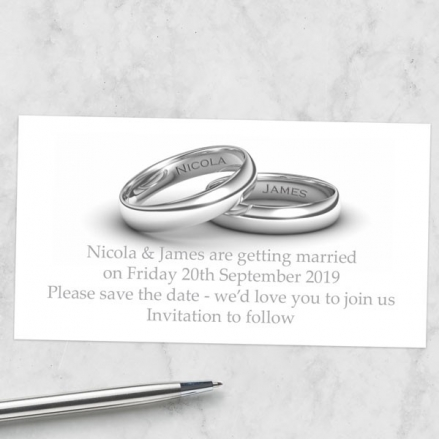 Add Your Names Silver Rings - Save the Date Magnets