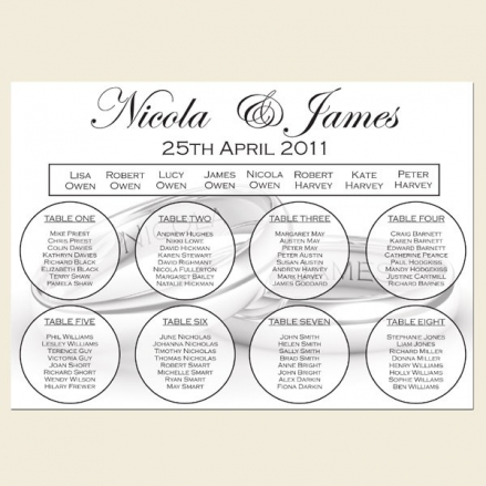 Add Your Names Silver Rings - Table Plan