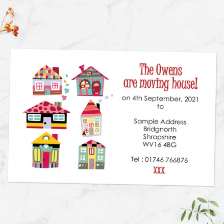 Address Cards - Colourful Houses - Pack of 10