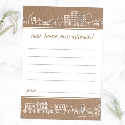 Address Cards - Kraft City Outline - Pack of 10