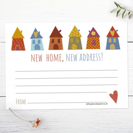 Address Cards - Patchwork Houses - Pack of 10