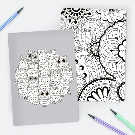 Adult Owls Colour Me In - A5 Exercise Books - Pack of 2