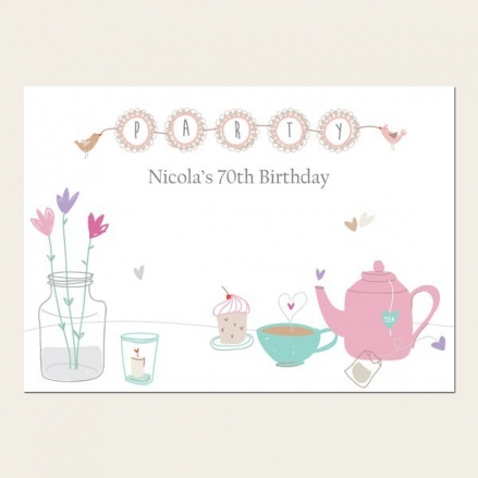 70th Birthday Invitations - Afternoon Tea