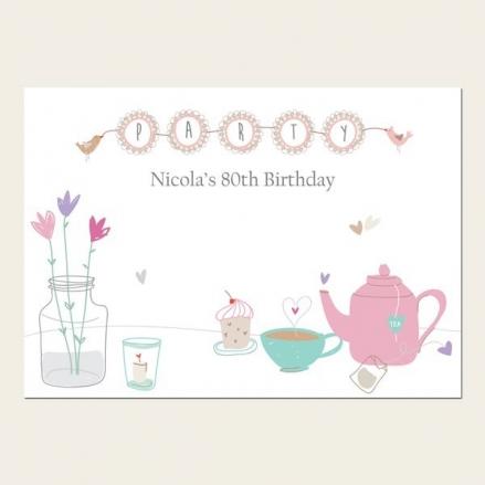 80th Birthday Invitations - Afternoon Tea