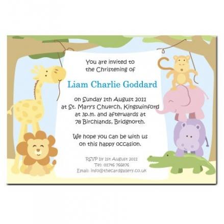 Christening Invitations - Boys Animal Banner - Postcard - Pack of 10