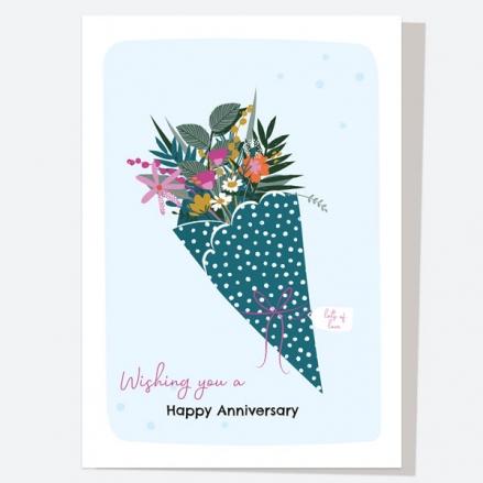 Anniversary Card - Pretty Wildflowers - Bouquet - Happy Anniversary