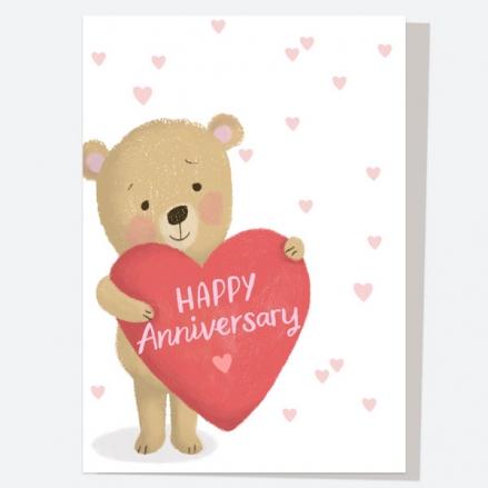 Anniversary Card - Bear Holding Heart - Happy Anniversary