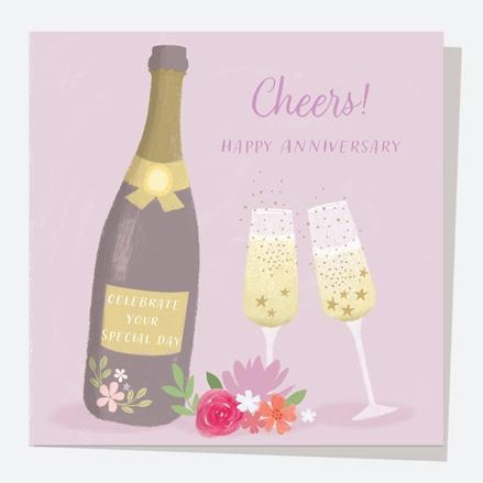 Anniversary Card - Drinks - Champagne Anniversary