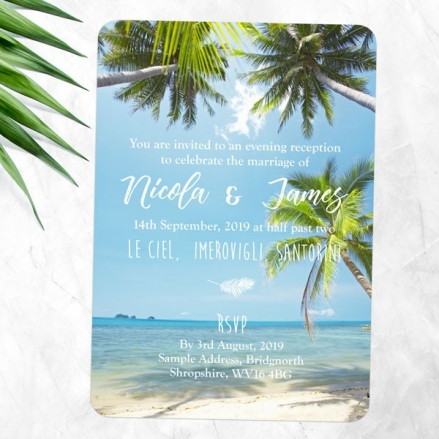 Tropical Beach Scene - Evening Invitations