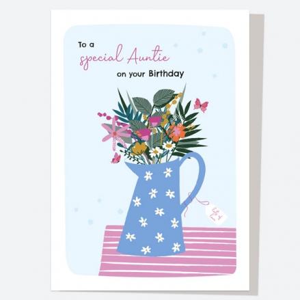 Auntie Birthday Card - Pretty Wildflowers - Jug - Special Auntie