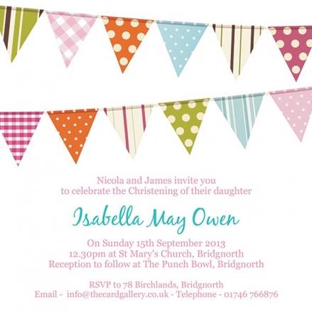 Christening Invitations - Pink Bunting - Postcard - Pack of 10