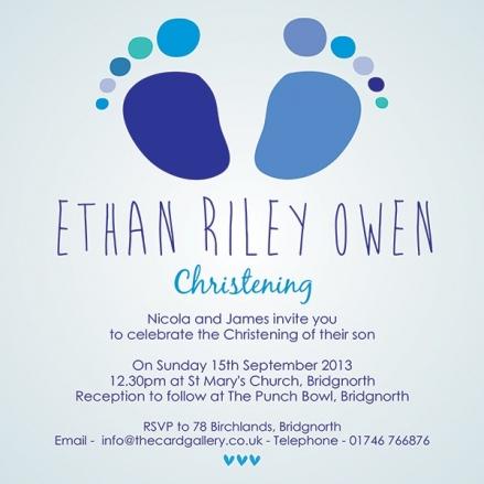 Christening Invitations - Blue Baby Feet - Postcard - Pack of 10