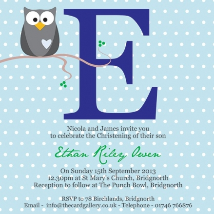 Christening Invitations - Owl Initial Blue - Postcard - Pack of 10