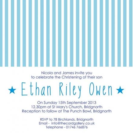 Christening Invitations - Blue Stripes - Postcard - Pack of 10