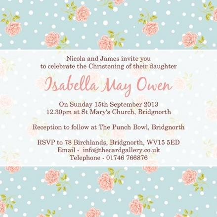 Christening Invitations - Flower Pattern - Postcard - Pack of 10
