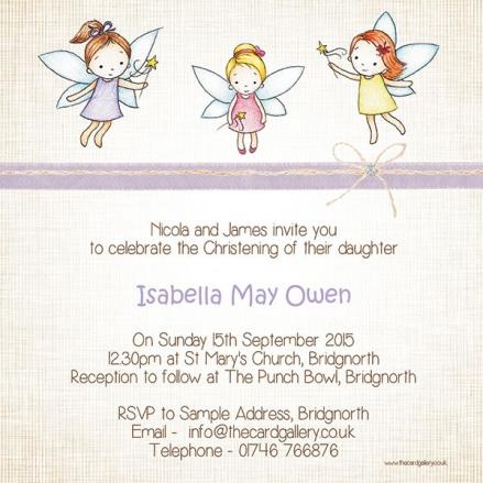 Christening Invitations - Girls Fairy - Postcard - Pack of 10