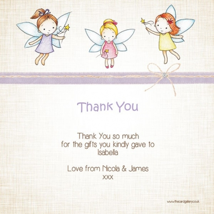 Thank You - Girls Fairy - Postcard - Pack of 10
