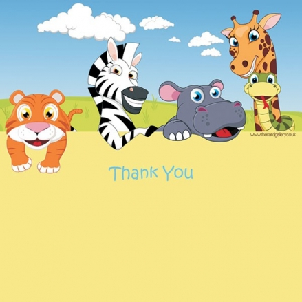 Thank You - Zoo Animals - Postcard - Pack of 10