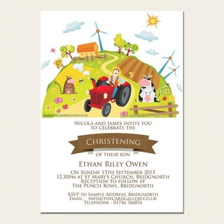 Christening Invitations - Farm Scene - A6 Postcard - Pack of 10