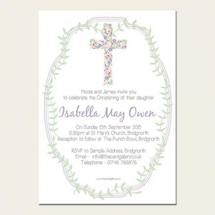 Christening Invitations - Girls Cross - A6 Postcard - Pack of 10