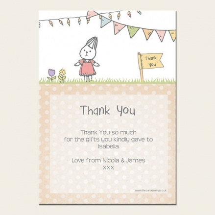 Thank You - Girls Rabbit & Bunting - A6 Postcard - Pack of 10
