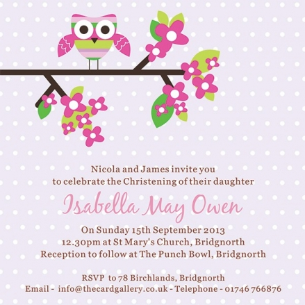 Christening Invitations - Pink Owl in Tree - Postcard - Pack of 10