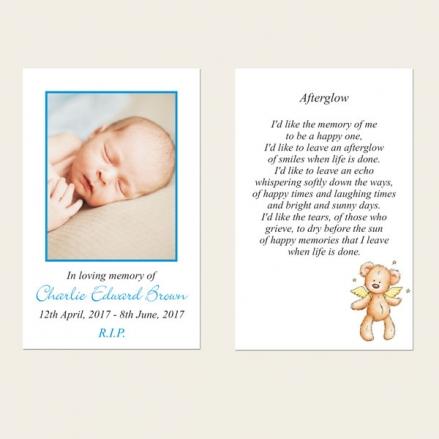 Funeral Memorial Cards - Baby Boy Angel Teddy
