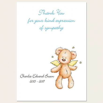 Funeral Thank You Cards - Baby Boy Angel Teddy