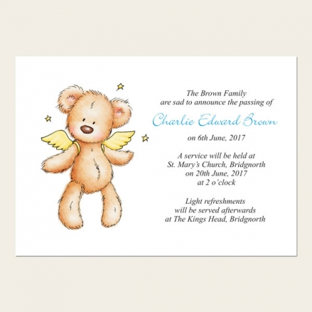 Funeral Announcement Cards - Baby Boy Angel Teddy
