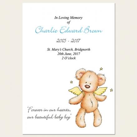 Funeral Order of Service - Baby Boy Angel Teddy