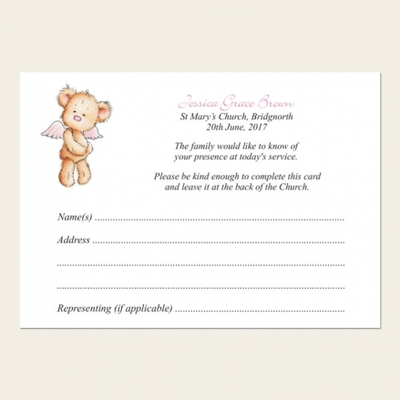 Funeral Attendance Cards - Baby Girl Angel Teddy