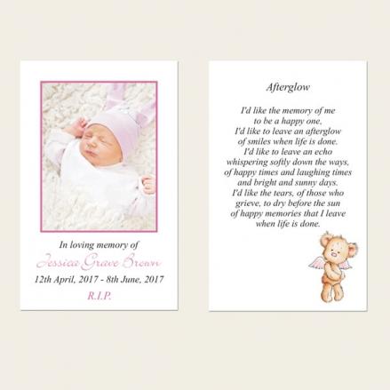 Funeral Memorial Cards - Baby Girl Angel Teddy