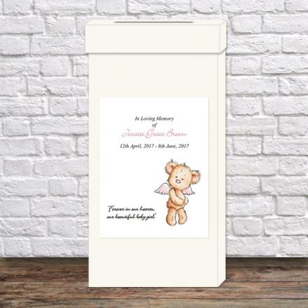 Funeral Post Box - Baby Girl Angel Teddy