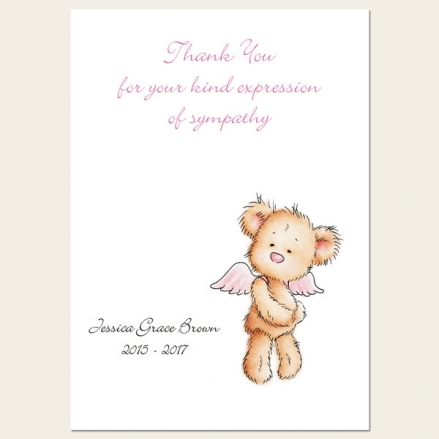 Funeral Thank You Cards - Baby Girl Angel Teddy