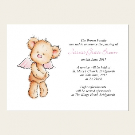 Funeral Announcement Cards - Baby Girl Angel Teddy